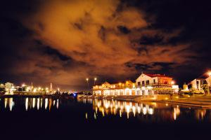 Outside at Night across lagoon